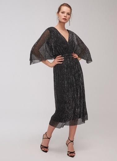 People By Fabrika Metalik İplikli Elbise Siyah